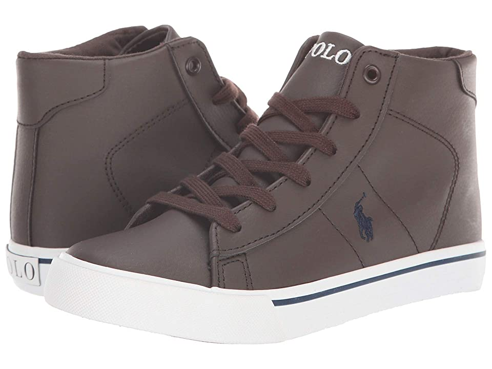 Polo Ralph Lauren Kids Easten Mid (Little Kid) (Chocolate Tumbled/Navy Purple) Boy