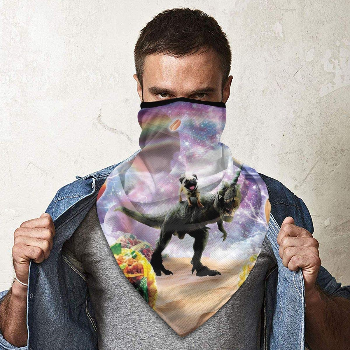 Space Pug Riding Dinosaur Unicorn Taco Fishing Neck Gaiter Neck Gaiters for Men Motorcycle Mask Head Bands Sport Mask Headwear Neck Warmer for Men Neck Gaiter Face Mask Winter Face Mask