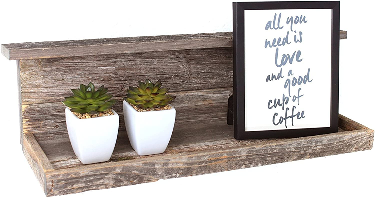 BarnwoodUSA Rustic Farmhouse Decor Shelf - Made of 100% Reclaimed and Recycled Wood   Made in The United States of America