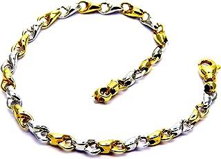 Bracciale da Uomo in Oro Giallo e Bianco 18kt (750) Maglia Segmenti Bicolore Cm 21