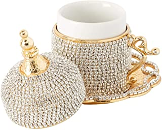 Demmex Turkish Coffee Espresso Cup with Inner Porcelain, Metal Holder, Saucer and Lid, 4 Pieces (Gold with Crystals)