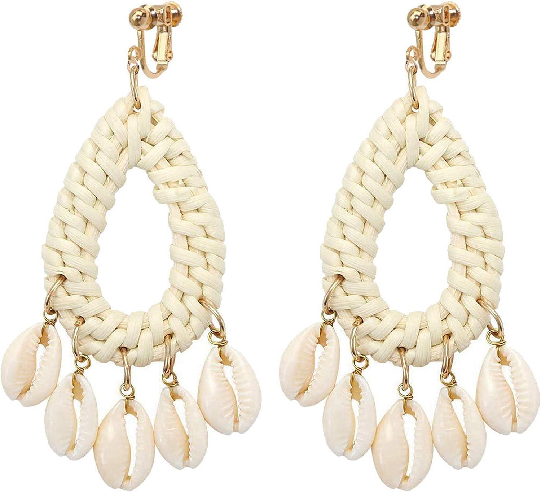 Non Pierced Rattan Clip On Earrings For Girls Women Lightweight Geometric Statement Teardrop Dangle 5 Shell Drop Bohemian Handmade Woven Straw Wicker Braid Hoop Vacation Earring Ears Jewelry