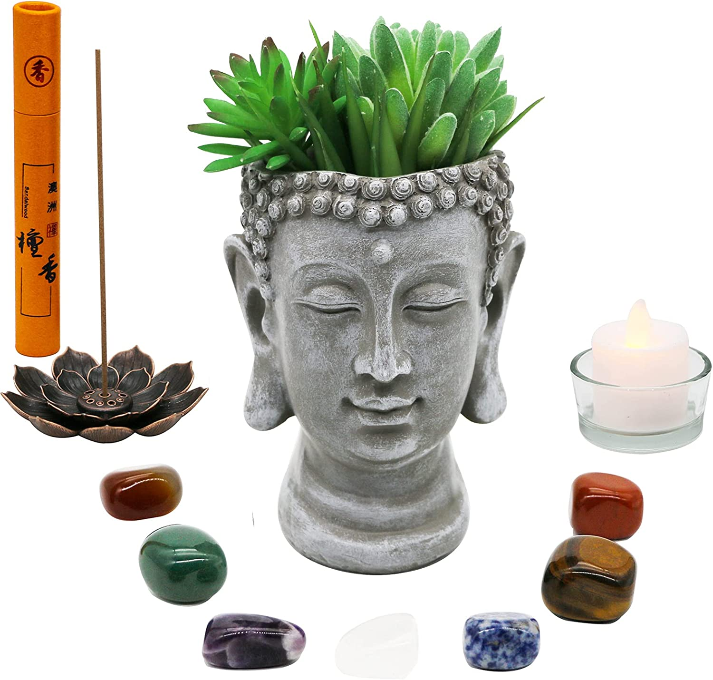 Meditation Altar Kit Accessories Set - Wiccan Spiritual Prayer Items Starter Witch Altar Supplies Shrine Prayer Zen Gifts Yoga Room Decor Quartz Crystal Chakra Healing Stones Buddha Planter