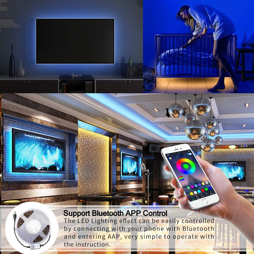 AEUWIER LED Strip Light 1.6ft RGB SMD 5050 LED Rope Lighting Color Changing Full Kit with Bluetooth APP Controll LED Lighting Strips for Livingroom Christmas Decoration 0.5m
