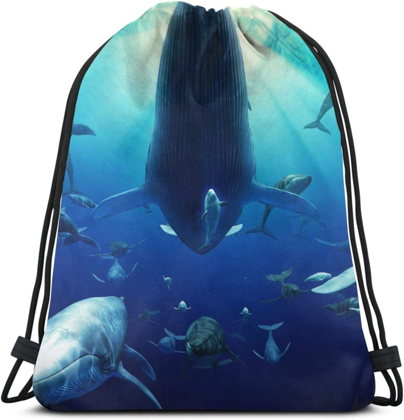 Drawstring Max 69% Free Shipping New OFF Backpack Bag Ocean Blue Hiking Shark Whale Travel