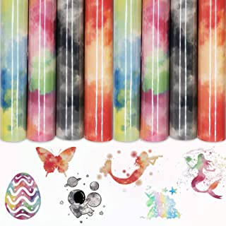 Rainbow HTV 4 Sheets 12x8.2 inch Tie dye Iron On Vinyl for T-Shirt, Fabric, Reflective Clouds Watercolor HTV Bundle DIY T-...