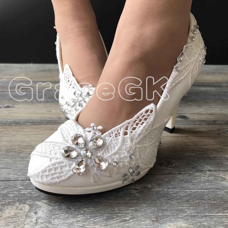 JINGXINSTORE Lace Weiß Crystal Hochzeit Schuhe Braut Low High Heel Pump Größe 3-10  | Hohe Qualität und Wirtschaftlichkeit  | Verpackungsvielfalt  | Online