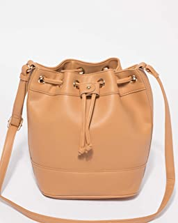 Caramel Cobie Drawstring Bucket Bag