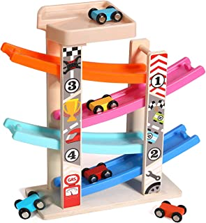 TEENLEE Wooden Ramp Racer 4 Level Race Track Car Ramp Set for 1 2 3 Years Old Boys Toddler Kids Car Track Toys with Parking Garage and 6 Mini Cars