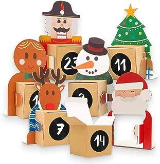 Calendario de Adviento para rellenar, 24 figuras navideñas de cartón para colocar con caja para rellenar y pegatinas con números