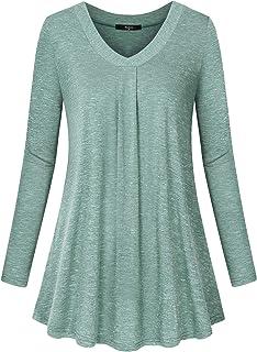 Marbetia Women's V Neck Long Sleeve T-Shirt Casual Blouse Tunic Tops
