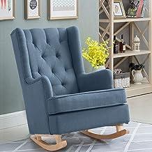 Levede Rocking Chair Chairs Armchair Nursery Fabric Lounge Feeding Rocker Blue Blue