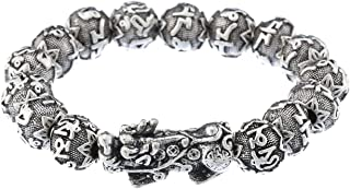 Prime Feng Shui Bracelet Ancient Silver Plated Mantra Bead Bracelet with Pi Xiu/Pi Yao Attract Wealth and Good Luck Amulet Gift