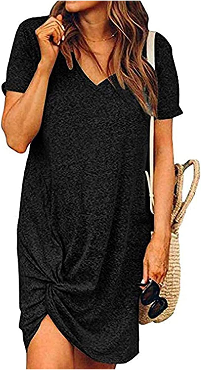 Chalier Long Sleeve Dress for Women T Shirt Dress with Pockets Casual Loose V Neck Twist Knot Fall Dresses
