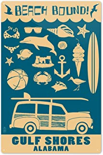 Lantern Press Gulf Shores, Alabama - Coastal Icons (#3) 75782 (6x9 Aluminum Wall Sign, Wall Decor Ready to Hang)