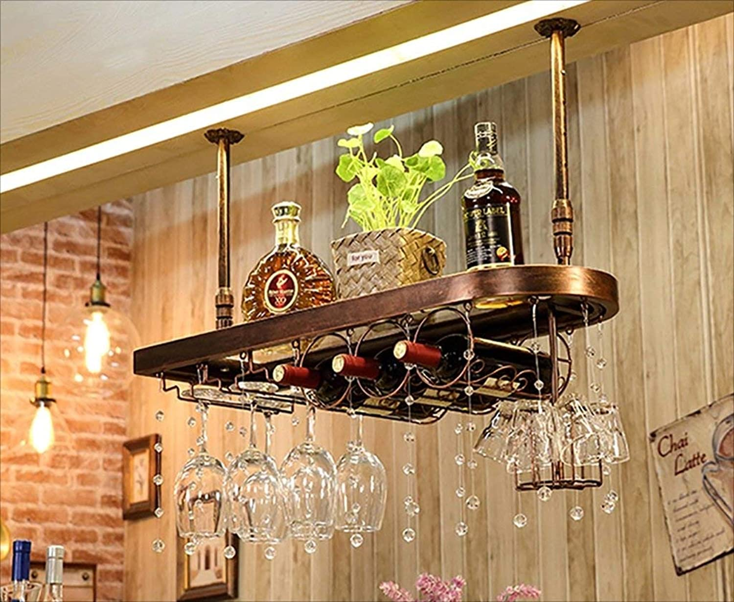 Red Wine Shelf bar Suspension Bar Counter Wine Rack Restaurant Household Wineglass Ingreened Rack Retro Iron Art + Solid Wood Wine Racks (color   B, Size   80  28cm) (color   C, Size   60  28cm)
