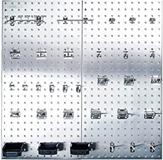 Triton Products LB18-SKit Stainless Steel LocBoard Assortment with Two 304 Stainless Steel Square Hole Pegboards with 32 p...