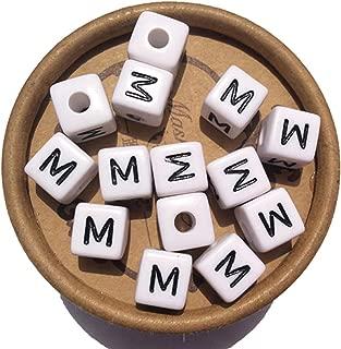 EmmaGreen Letter Beads for Jewelry Making 100pcs White Letter Beads 10mm Acrylic Letter Beads Separate Alphabet Letter Beads for Bracelets