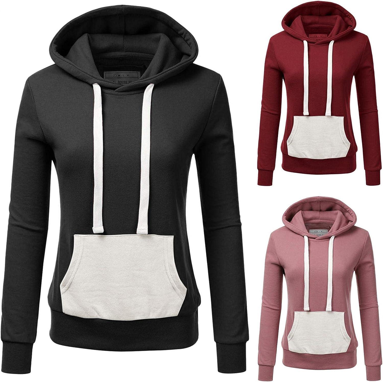 Long Sleeve Shirts for Women Casual Lightweight Sweatshirts Teen Girls Slim Hoodies Color Block Kangaroo Pocket Pullover