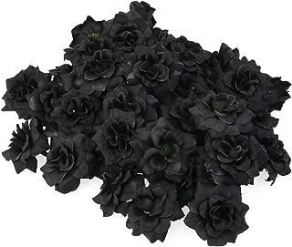 VORCOOL 50pcs Silk Rose Flower Heads for Hat Clothes Album Embellishment (Black)