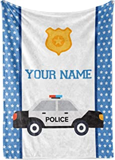 Personalized Custom Police Car Fleece and Sherpa Throw Blanket for Boys, Girls, Kids, Baby - Toddler Police Car Blankets P...