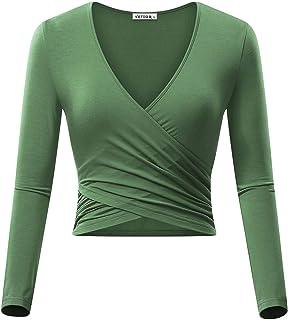 97abe2e113f46b VETIOR Women s Deep V Neck Long Sleeve Unique Slim Fit Coss Wrap Shirts Crop  Tops
