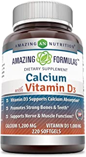 Amazing Formulas Calcium with Vitamin D3 - Calcium 1200 Mg, Vitamin D3 1000 Mg 220 Softgels - aids in Better Calcium Absor...