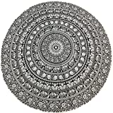 Barelove Round Indian Mandala Bohemian Table Cloth, Hawaii Sunproof Round Beach Throw Tapestry Hippy Boho Gypsy Tablecloths 60 Inches, Great for Home Decor Party Outdoor Camping