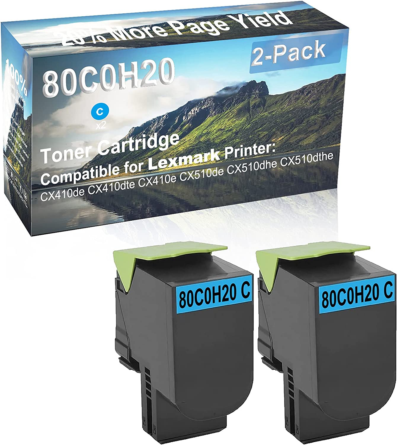 2-Pack (Cyan) Compatible High Capacity 80C0H20 Toner Cartridge Used for Lexmark CX410de, CX410dte Printer