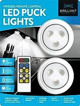 Brilliant Evolution Wireless Remote Control LED Puck Light 2 Pack | LED Under Cabinet Lighting | Closet Light | Battery Powered Lights | Under Counter Lighting | Stick On Lights