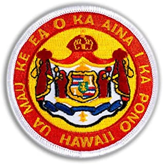Hawaiian Coat of Arms Iron-On Embroidery Applique Patch, 2.5