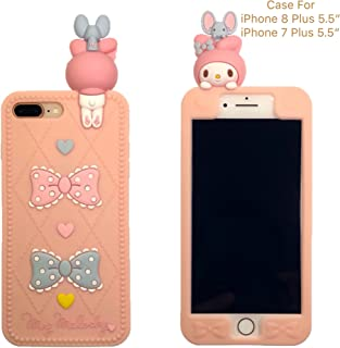 [CaserBay] iPhone Phone Case 3D Cute Rabbit, Bow Tie, Heart, Cartoon Kawaii Animal Series Soft Silicone Rubber Peach Pink Case Cover (Rabbit & Bow-knot, For iPhone 8 Plus/ iPhone 7 Plus 5.5