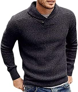 Men's Shawl Collar Slim Fit Knitted Sweater Pullover Long Sleeve Jumper Sweater