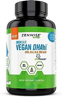 Vegan DHA Supplement - Omega 3 6 9 Support with Algae & Ahiflower Blend - Non Fish Oil Alternative - ALA, GLA, SDA Fatty A...