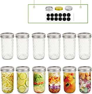 FRUITEAM 12 oz Mason Jars with Lids and Bands-Set of 12, Glass Canning Jars Ideal for Jellies, Smoothies, Parfaits, Desser...