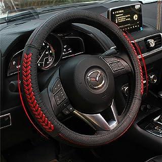 غطاء جلدي VESUL أحمر عجلة القيادة متوافق مع مازدا 3 أكسيليا مازدا 6 CX-3 CX3 CX-5 CX5 Cx-7 CX7 CX-9 CX9 2013 2014 2015 201...