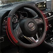 Vesul Red Steering Wheel Glove Leather Cover Compatible with Mazda 3 Axela Mazda 6 CX-3 CX3 CX-5 CX5 Cx-7 CX7 CX-9 CX9 2013 2014 2015 2016 2017 2018 2019 2020