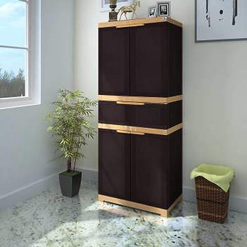 Nilkamal Freedom FMDR1C Storage Plastic Cabinet Brown , 4 Doors