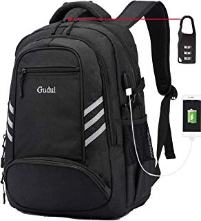 Business Travel Backpack, Gudui Slim Laptop Backpack for Women & Men, Water Resistant College School Computer Bag, Casual Hiking Daypack, with USB Charging Port Fits 15.6 inch Laptop & Notebook