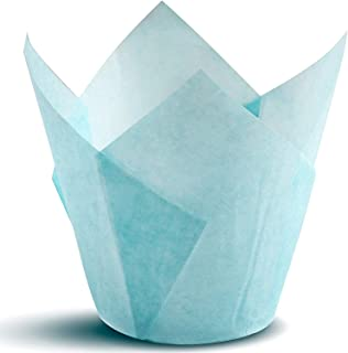 Tulip Cupcake Liners, Natural Baking Cups for Standard Size Cupcakes and Muffins Liners (100, Blue)