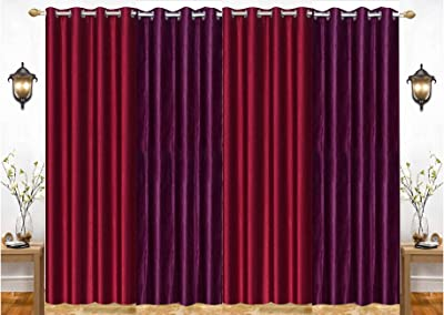 "India Furnish Eyelet Fancy Polyester Maroon & Wine Colour Door Length Curtain - Pack of 4 Pcs (84""x48"")"