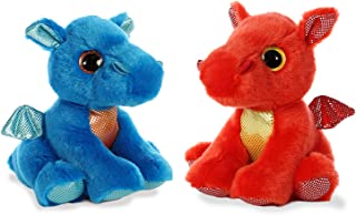 Aurora Bundle of 2 - Sparkle Tails 7 inch Plush Dragons: Flame Red and Rocket Blue