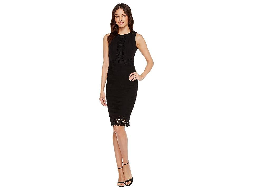 Jessica Simpson Sleeveless Lace Dress with Ruffle Front (Black) Women