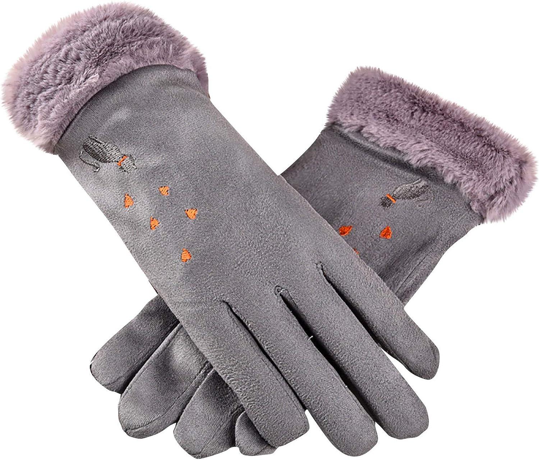 Sinifer Winter Gloves for Women Warm Lining Mittens- Cozy Fleece Thick Gloves Novelty Mittens Winter Cold Weather Artificial Deerskin Gloves (3-Gray Cat/Love Heart)
