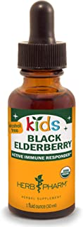 Herb Pharm Kids Certified-Organic Alcohol-Free Black Elderberry Glycerite Liquid Extract, 1 Ounce (GLKELD01)