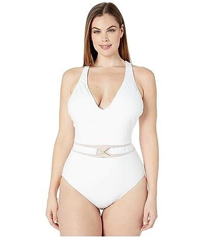 La Blanca Plus Size Mesh-Merizing Belted Plunge Mio One-Piece (White) Women