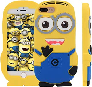 iPhone 7 Plus Case Lovely Slave Servant 3D Cartoon Soft Silicone Rubber Case for iPhone 7 Plus Kawaii Cool Fun Bold Cute Unique Artbling Fashion Hot Gift for Women Girls Teens Kids Yellow