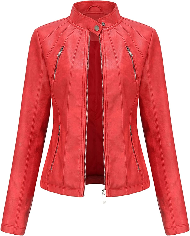 Women's Jacket Faux Leather Moto Short Jackets Fashion Slim Moto Coat Zip-up Stand-up Collar Biker Jacket Outerwear