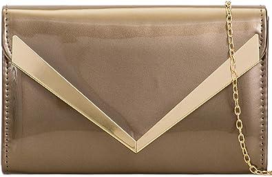 ZES Plain Patent Wedding Ladies Party Prom Evening Clutch Hand Bag Purse