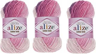 Alize Cotton Gold Batik Yarn 55% Cotton 45% Acrylic Lot of 3 Skein 300gr 1082yds Knitting Acrylic Cotton 2 Sport Yarn (3302)
